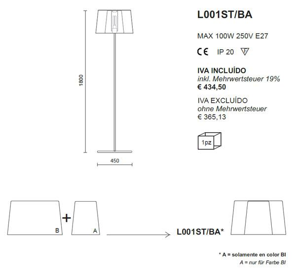 Medidas lámpara pie Pedrali L001ST