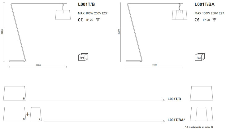 Medidas lámpara de pie Pedrali L001T