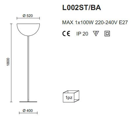 Pedrali. Medidas lámpara de pie L002ST/BA