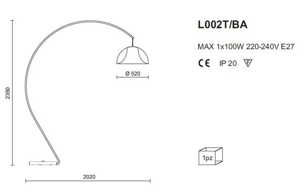 Medidas lámpara de pie Pedrali L002T/BA