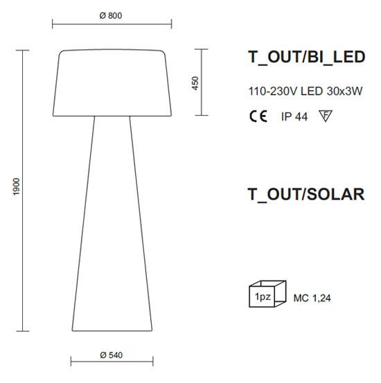 Medidas lámpara exterior chillout Pedrali T_OUT