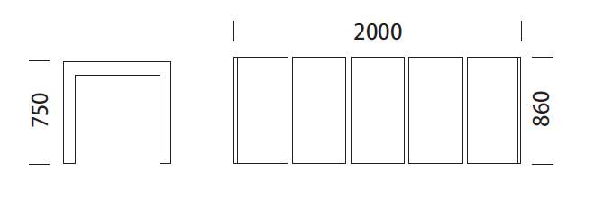 Medidas mesa para exterior Matrix Pedrali