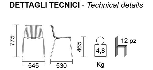 Medidas de silla Nolita 3650