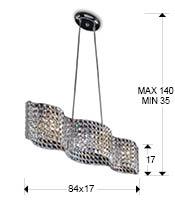 Medidas lámpara Onda 4L
