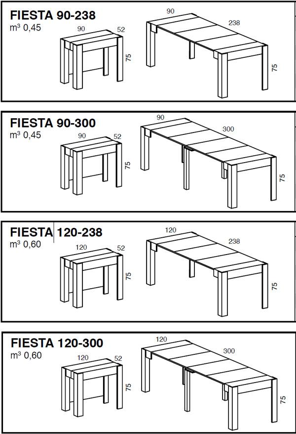 Medidas consola mesa extensible Fiesta iMultifunzione