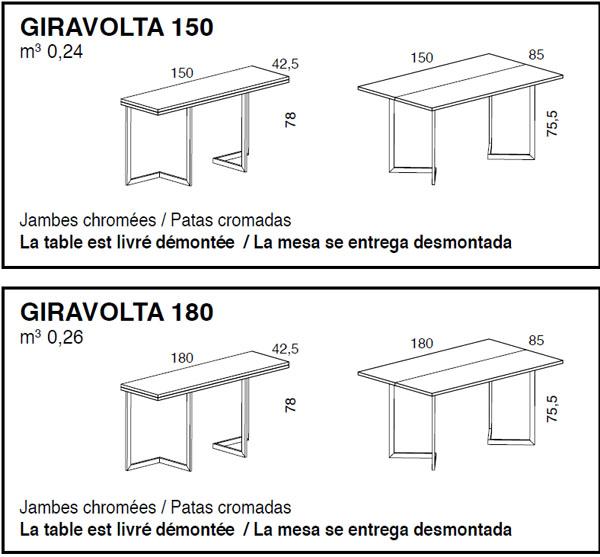 Medidas consola mesa extensible Giravolta iMultifunzione