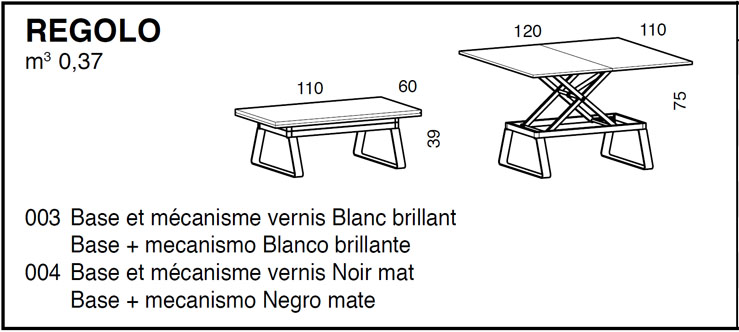 Medidas mesa de salón elevable Regolo iMultifunzione by Sedit