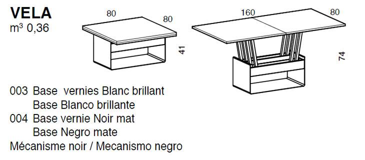 Medidas mesa de centro elevable Vela