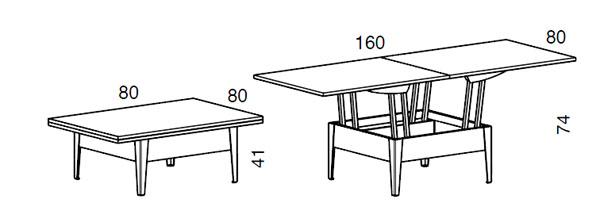 Medidas mesa de centro elevable Easy de Sedit