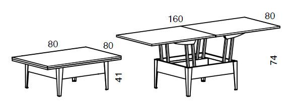 Medidas mesa de centro elevable Facile iMultifunzione