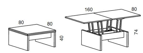 Medidas mesa de centro elevable Kubo iMultifunzione by Sedit