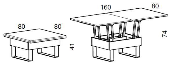 Medidas mesa de centro elevable Piccolo iMultifunzione