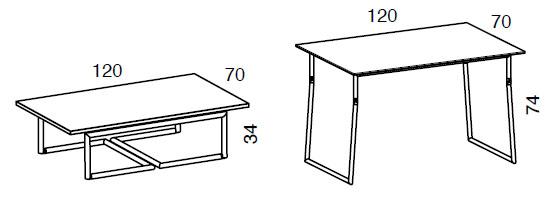 Medidas mesa de centro elevable Piego cristal iMultifunzione