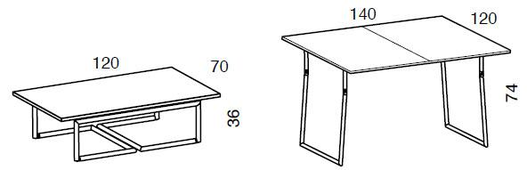 Medidas mesa de centro elevable en madera Piego