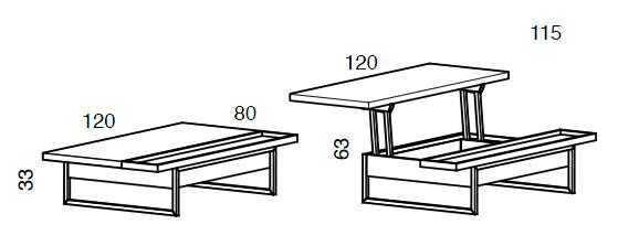 Medidas mesa de centro elevable Single iMultifunzione