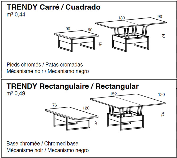 Medidas mesa de centro elevable Trendy iMultifunzione by Sedit
