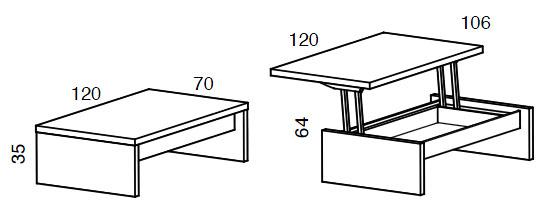Medidas mesa de centro elevable Yoyo iMultifunzione