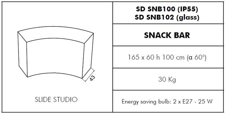Medidas Barra con luz Snack Bar Slide Design