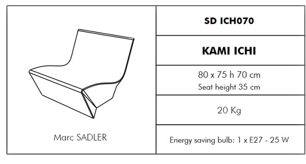 Medidas sillón Kami Ichi SLIDE Design