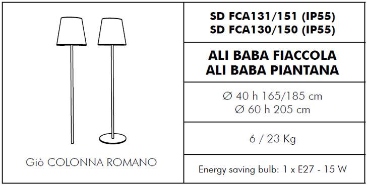 Lámpara de exterior Ali Baba modelos pie y antorcha Slide Design