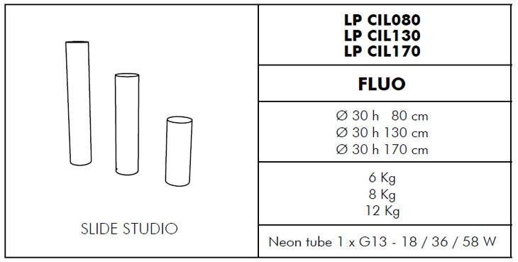 Medidas lámpara cilindro de exterior Fluo Slide Design