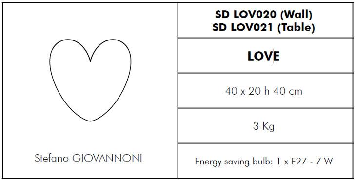 Medidas lámpara de exterior de diseño Love Slide Design