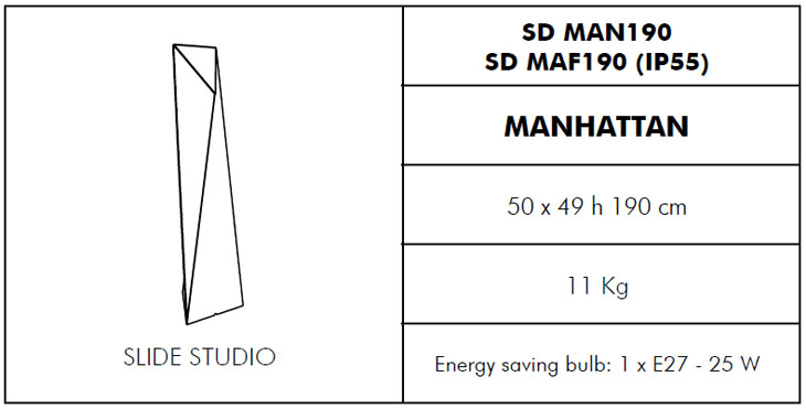 Medidas lámpara de jardín Manhattan Slide Design