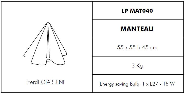 Medidas lámpara de jardín Manteau Slide Design