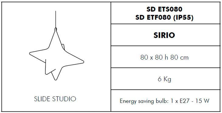 Medidas lámpara de exterior Sirio Slide Design