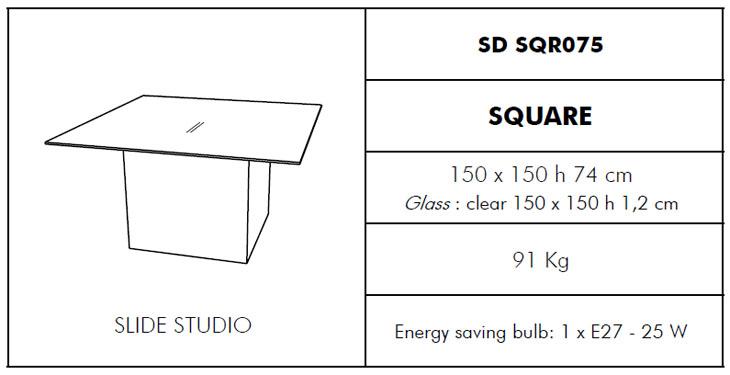 Medidas mesa de jardín Square Slide Design