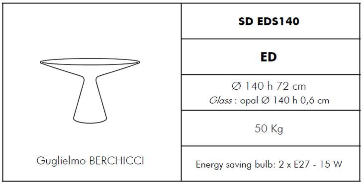 Medidas mesa de exterior con luz Ed Slide Design