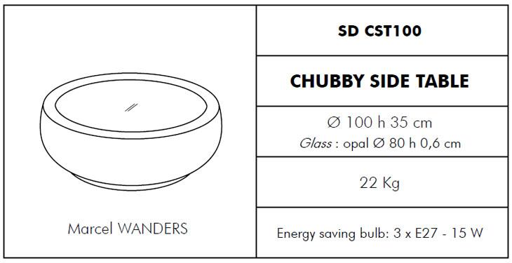 Medidas mesita exterior Chubby Slide Design