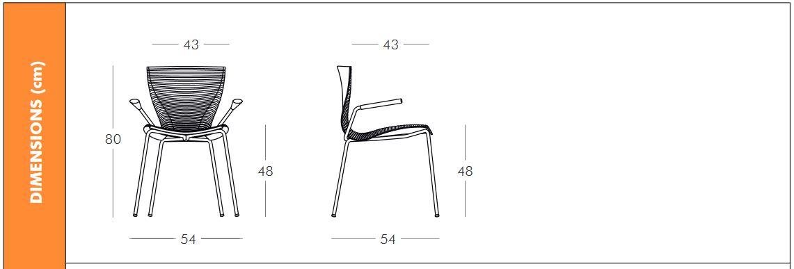 Medidas de la silla Gloria con brazos