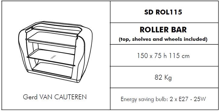 Medidas barra de bar con luz Roller Bar SLIDE Design