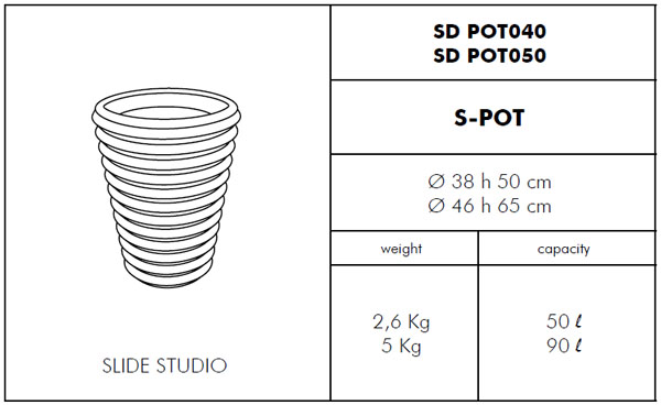 Medidas maceta de diseño S-pot SLIDE Design