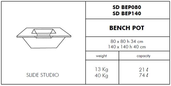 Medidas maceta isla Bench SLIDE Design
