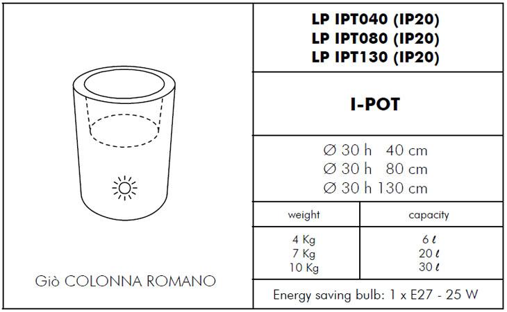 Medidas maceta luz I-pot SLIDE Design