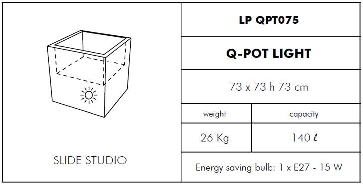 Medidas maceta iluminada Q-Pot SLIDE Design