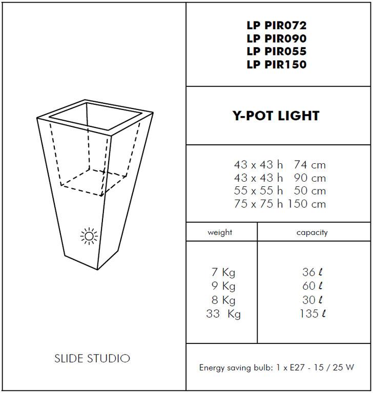 Medidas maceta con luz Y pot SLIDE Design