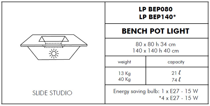 Medidas macetero con luz Bench Light SLIDE Design