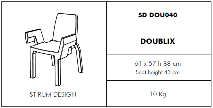 Medidas silla Doublix SLIDE Design