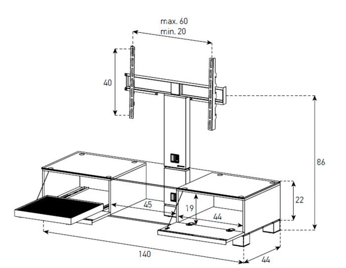 Diagrama mesa de televisión  MD 8140 sobre negro de Sonorous