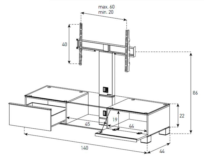 Diagrama mesa de televisión  MD 8140 sobre blanco de Sonorous