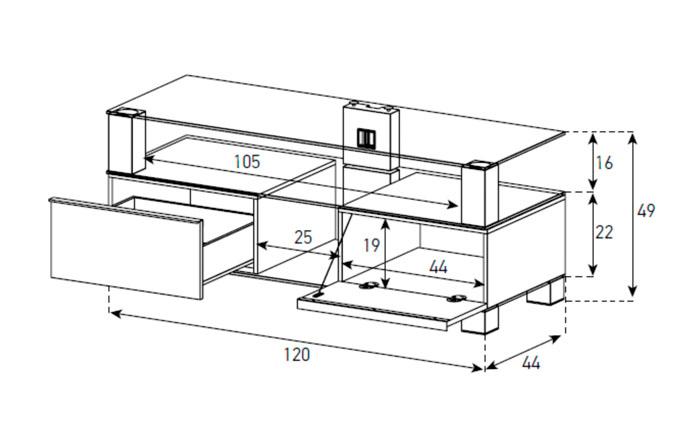 Diagrama mesa de televisión  MD 9120 de Sonorous
