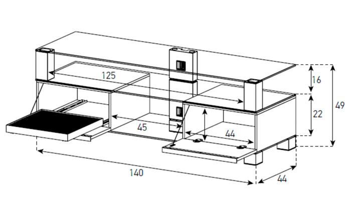 Diagrama mesa de televisión  MD 9140 de Sonorous