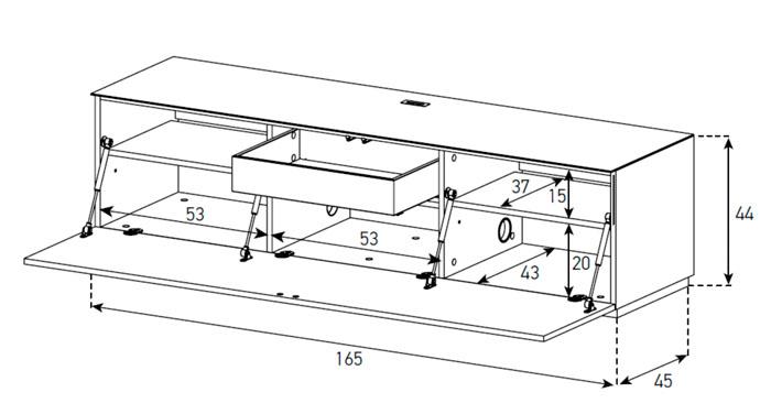 Diagrama mesa de televisión ST 160 de Sonorous