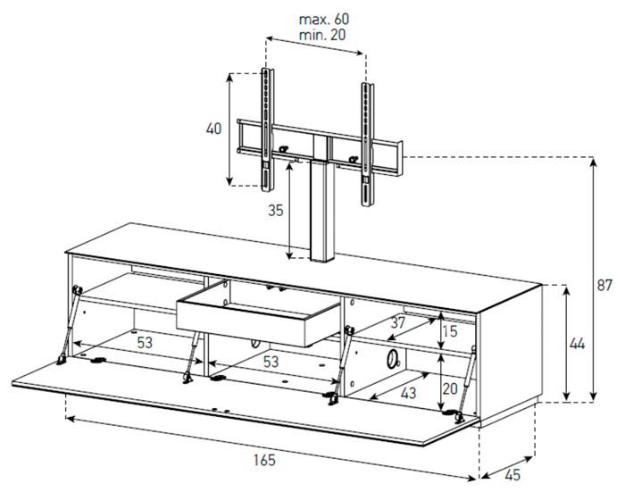 Diagrama mueble de televisión  ST 161 de Sonorous