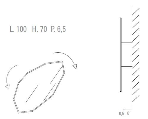 Medidas espejo de diseño Ice Rock Sovet Italia