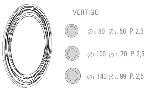 Medidas espejo de diseño Vértigo Sovet Italia