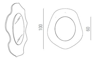 Medidas espejo de diseño Wave Sovet Italia